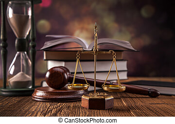Mallet, legal code and scales of justice. Law concept, studio shots