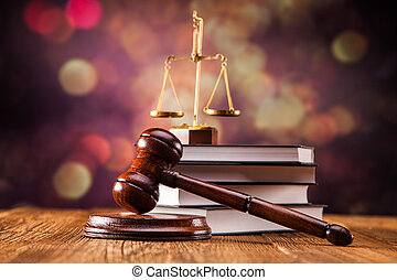 Law concept - Mallet, legal code and scales of justice. Law ...