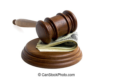 Mallet with dollars on a white background