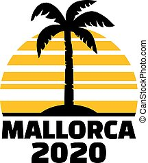 Mallorca 2020 with palm tree and sunset