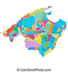 Mallorca Colorful Vector Map, printable outline Version,...