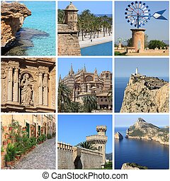 Mallorca Island landmarks collage - Collage of landmarks of...