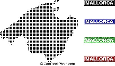 Mallorca Map in Dot Style with Grunge Name Stamps - Dot...