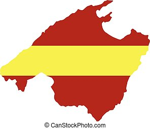 Mallorca map with flag