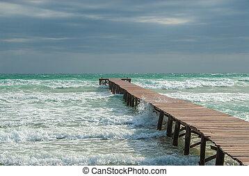 mallorca, sandstrand, landungsbrücke, bucht