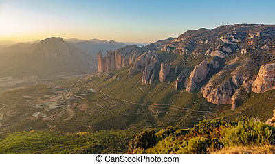 Mallos of Riglos at dusk from top of the mountain