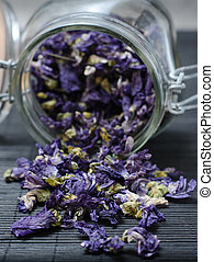 Mallow dried flowers coming out of jar