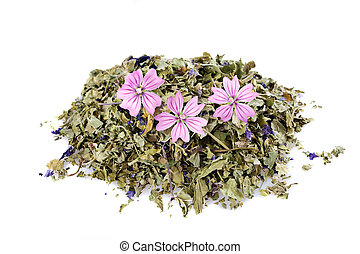 Mallow - Dried mallow with flowers isolated on white