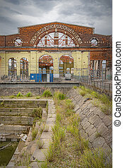MALMO, SWEDEN - AUGUST 21, 2020: The abandoned and dusused kockums shipbuilding factory.