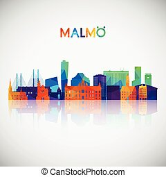 Malmo skyline silhouette in colorful geometric style.