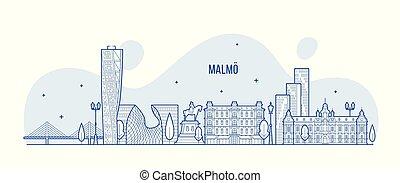 malmo, suecia, vector, ciudad de edificios, contorno, lineal