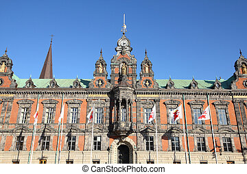 Malmo, Sweden - the Town Hall. City in Scania county (Skane in Swedish) and Oresund region.
