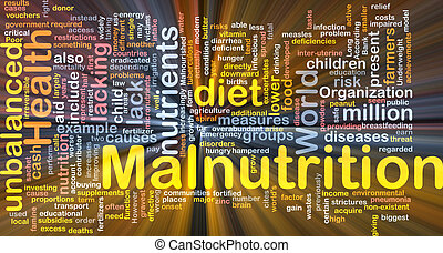 Malnutrition background concept glowing