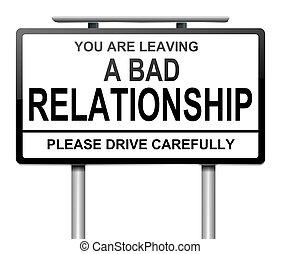 malo, relación, concept.