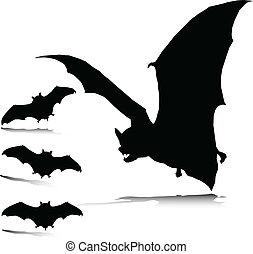 malo, siluetas, vector, murciélago