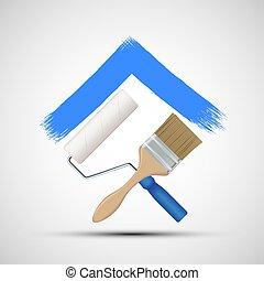 malować, ikona, construction., wałek, paintbrush.