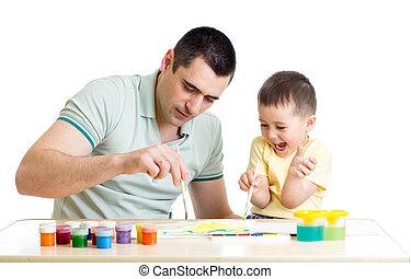 malować, kolor, ojciec, interpretacja, koźlę