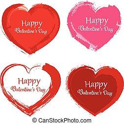 malować, symbol, valentine, szczotka, dzień
