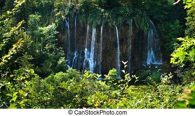 malowniczy, wodospady, krajobraz, w, plitvice, jeziora,...