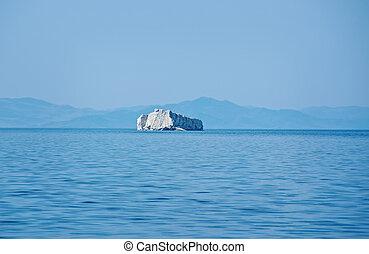 Maloye more strait.Zamogoi Island
