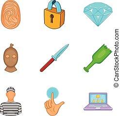 Malpractice icons set, cartoon style - Malpractice icons...