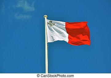 maltés, azul, bandera, cielo