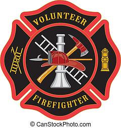 maltés, bombero, cruz, voluntario