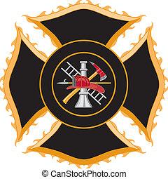 maltês, símbolo, bombeiro, crucifixos