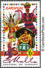 MALTA - 2001: A stamp printed by Malta shows Carnival, -...