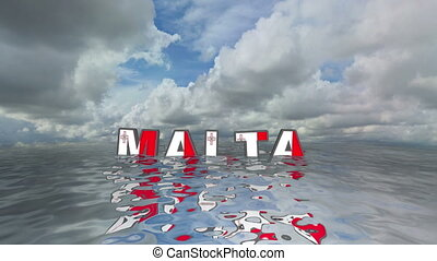 Malta 3d text floating on water vacation concept