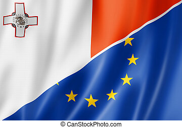 Malta and Europe flag - Mixed Maltese and european Union ...