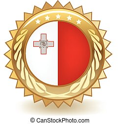 Malta Badge - Gold badge with the flag of Malta.