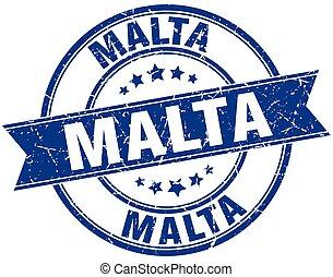 Malta blue round grunge vintage ribbon stamp