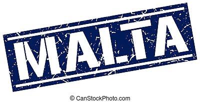 Malta blue square stamp