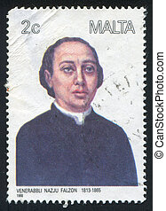 Clergyman Nazju Falzon - MALTA - CIRCA 1988: stamp printed...
