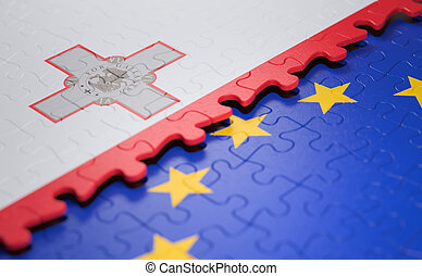 Malta European Union Puzzle Flag