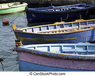 Malta Fishing Boats - Fishing boats moored at a marina in ...