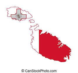Malta flag on map