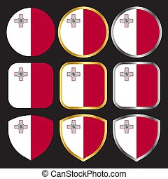 malta flag vector icon set with gold and silver border