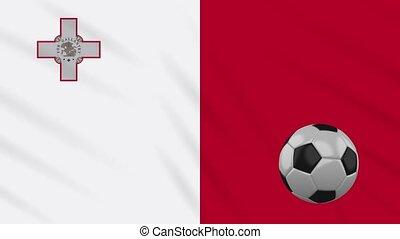 Malta flag waving and football rotates, loop - Malta flag...