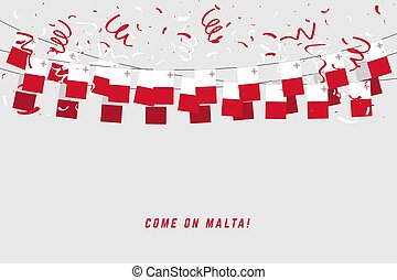 Malta flag with confetti on white background, Hang bunting for Malta celebration template banner.