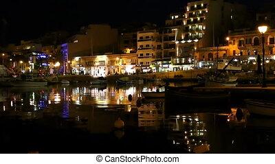 Malta island city night reflections - Busy popular Malta...