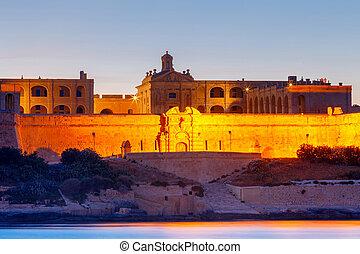 Malta. Manoel Island on the sunset.