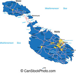 Malta map - Highly detailed vector map of Malta with...