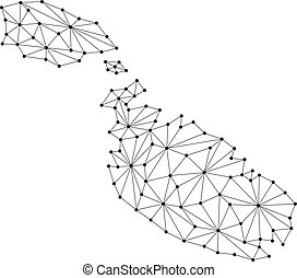 Malta map of polygonal mosaic lines network, rays and dots vector illustration.