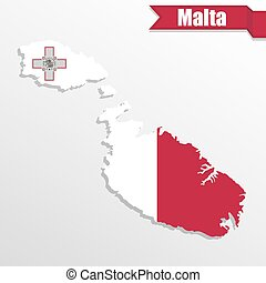 Malta map with flag inside and ribbon