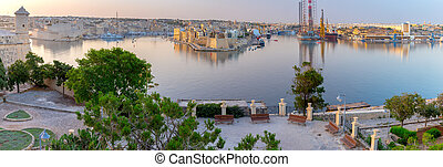 Malta. Panoramic view of the city and the bay in the early morning.