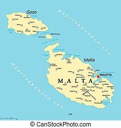 malta, político, mapa