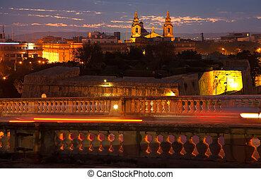 malta, prospekt, wieczorny, miasto