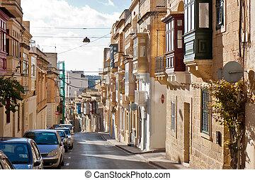 Malta - Sliema - Street view of Sliema, Malta island, close...